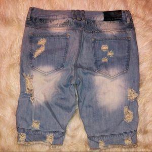 embellish Shorts - Men's distressed trendy style jean shorts